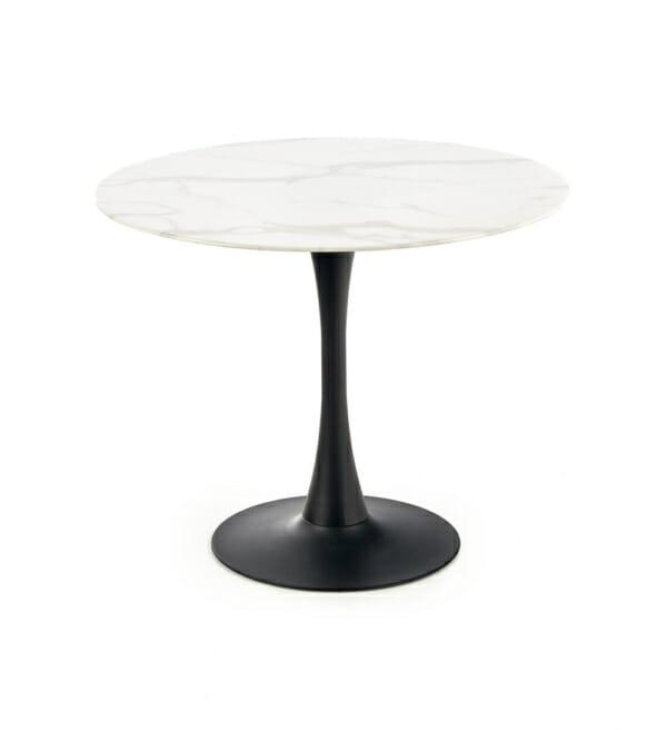 Кръгла маса със стъклен плот като мрамор и черна основа - отпред