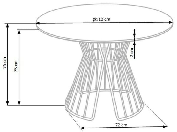 Кръгла трапезна маса с ефектна метална основа Клео - размери