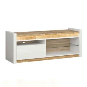 Луксозен ТВ шкаф в бял гланц и цвят уестминстърски дъб Аламеда