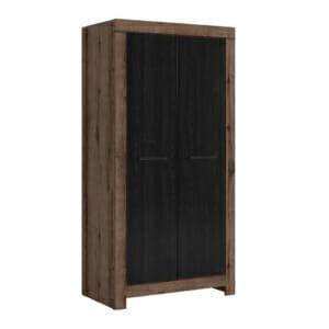 Модерен гардероб с 2 врати Балин - цвят черен и манастирски дъб