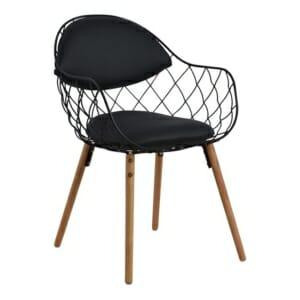 Модерен трапезен стол от метал и еко кожа в черно