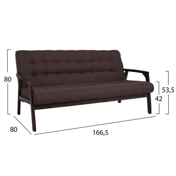 Модерен триместен диван с капитонирана тапицерия в кафяво размери