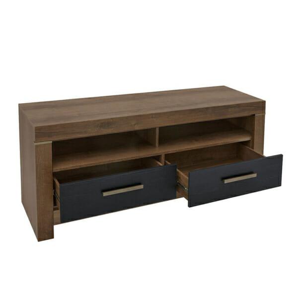 Модерен ТВ шкаф с 2 чекмеджета и 2 рафта Балин - цвят черен дъб с манастирски дъб - разпределение