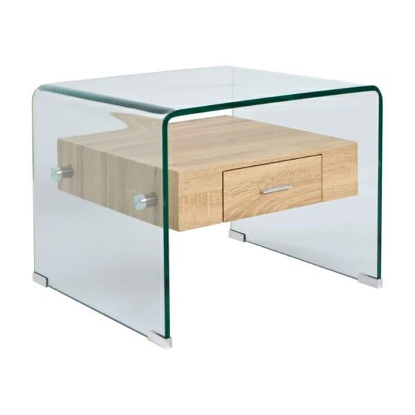 Модерна холна масичка от стъкло с вградено чекмедже