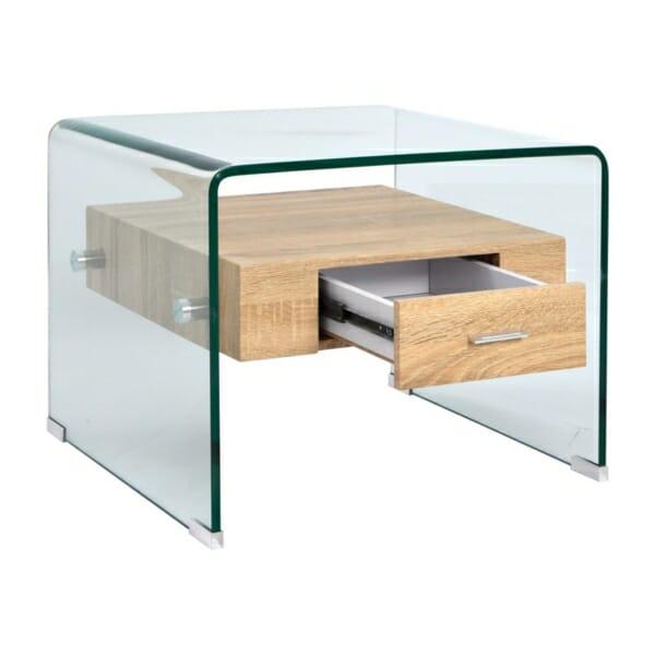 Модерна холна масичка от стъкло с вградено чекмедже детайли