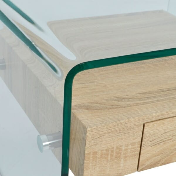 Модерна холна масичка от стъкло с вградено чекмедже детайли-стъкло