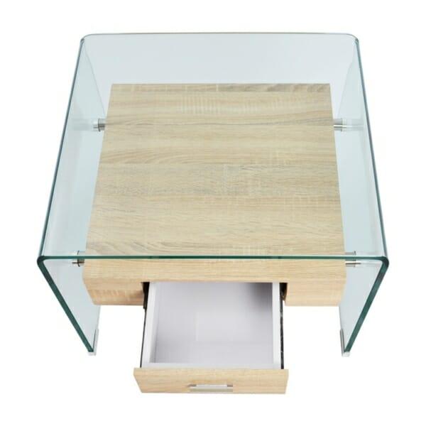 Модерна холна масичка от стъкло с вградено чекмедже отгоре