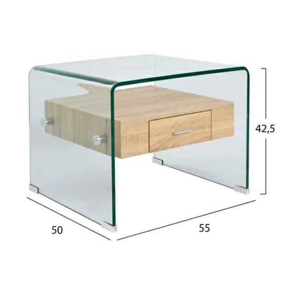 Модерна холна масичка от стъкло с вградено чекмедже размери