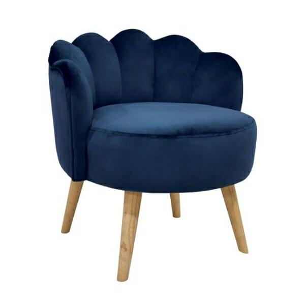 Модерна табуретка в кадифе с нестандартна форма в синьо
