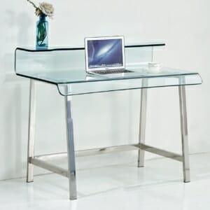 Модерно бюро с извит стъклен плот