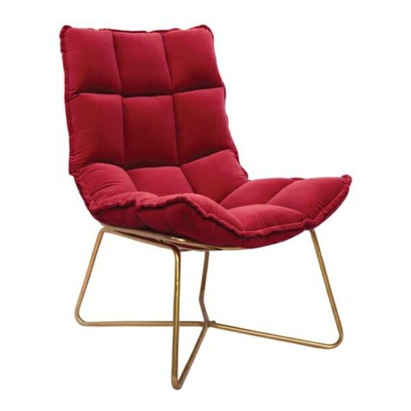 Модерно кресло с кадифе и метална рамка в червено