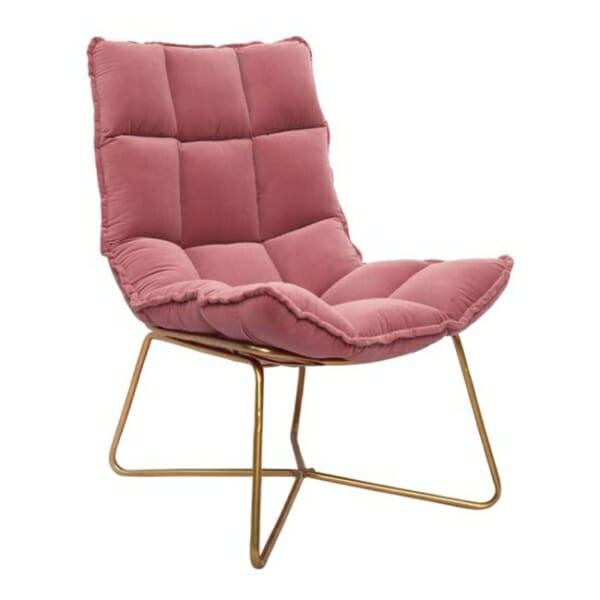 Модерно кресло с кадифе и метална рамка в розово
