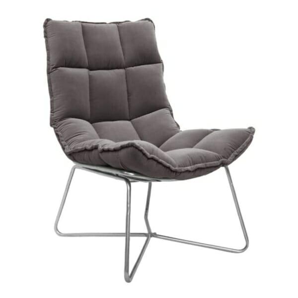 Модерно кресло с кадифе и метална рамка в сиво
