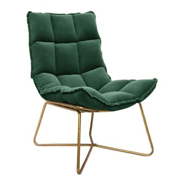 Модерно кресло с кадифе и метална рамка в зелено