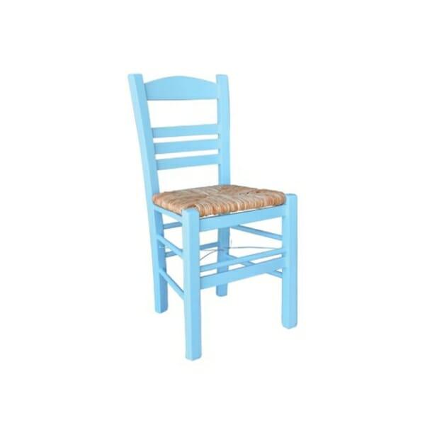 Небесносин дървен стол със сламена седалка Лимнос