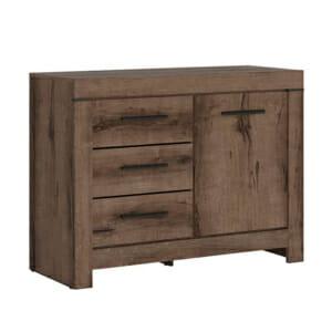 Нисък шкаф с 3 чекмеджета и вратичка Балин - цвят манастирски дъб