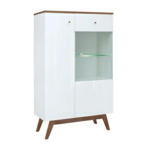 Нисък шкаф с вратичка и рафт от стъкло Хеда