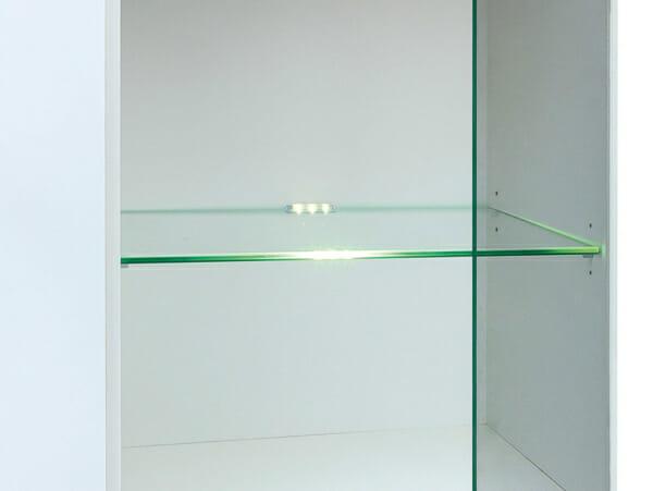 Нисък шкаф с вратичка и рафт от стъкло Хеда - осветление