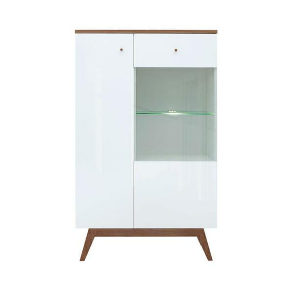 Нисък шкаф с вратичка и рафт от стъкло Хеда - отпред