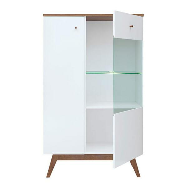 Нисък шкаф с вратичка и рафт от стъкло Хеда - разпределение