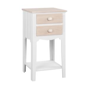 Нощно шкафче с издължени крака и допълнителен рафт серия Мелани в бяло и сиво