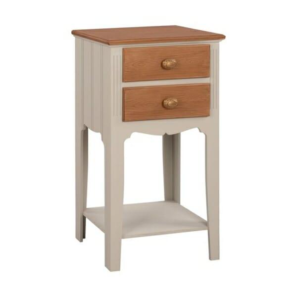 Нощно шкафче с издължени крака и допълнителен рафт серия Мелани в екрю и кафяво