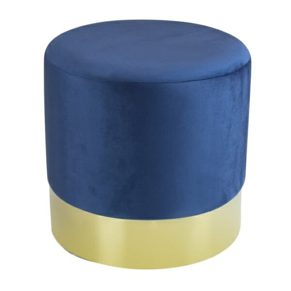 Овална табуретка от текстил със златист ринг (2 цвята) - син