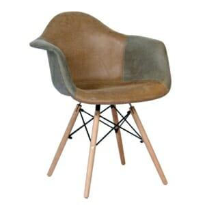 Пачуърк кресло в кафяво и сиво върху дървена основа
