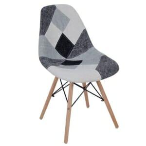 Пачуърк стол в черно-бяло с дървени крака Махоун
