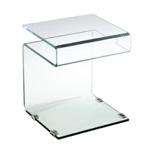 Помощна стъклена масичка с рафт серия Глостър