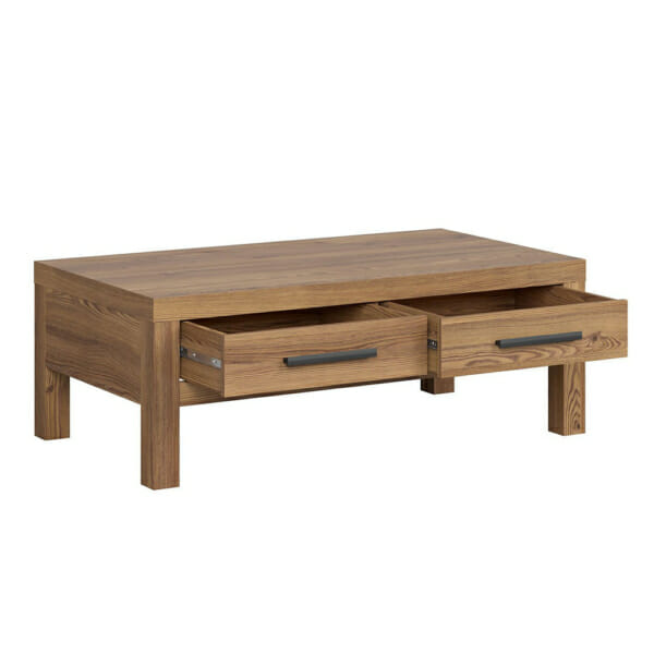 Правоъгълна холна маса с 2 чекмеджета Балин в цвят златна лиственица - разпределение