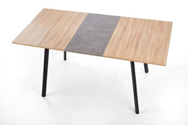 Разтегателна трапезна маса с плот като дърво и бетон - отгоре