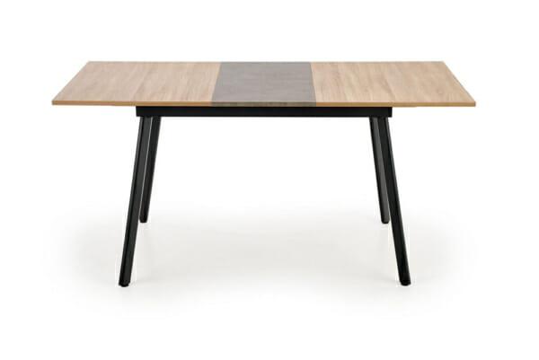 Разтегателна трапезна маса с плот като дърво и бетон - разтегната отпред