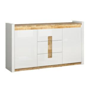 Шкаф с 2 вратички и 3 чекмеджета в бял гланц Аламеда