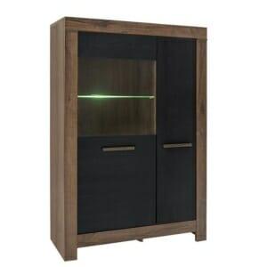 Шкаф с 2 вратички и стъклена витрина Балин - цвят черен дъб с манастирски дъб