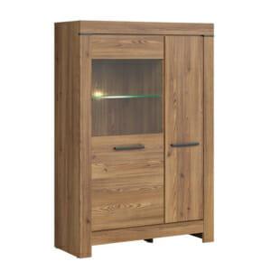 Шкаф с 2 вратички и стъклена витрина Балин - цвят златна лиственица с осветление