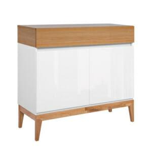 Шкаф с чекмедже и 2 вратички в бяло и натурален дъб Киото
