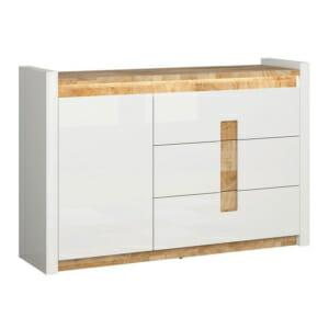 Шкаф с вратичка и 3 чекмеджета в бял гланц Аламеда