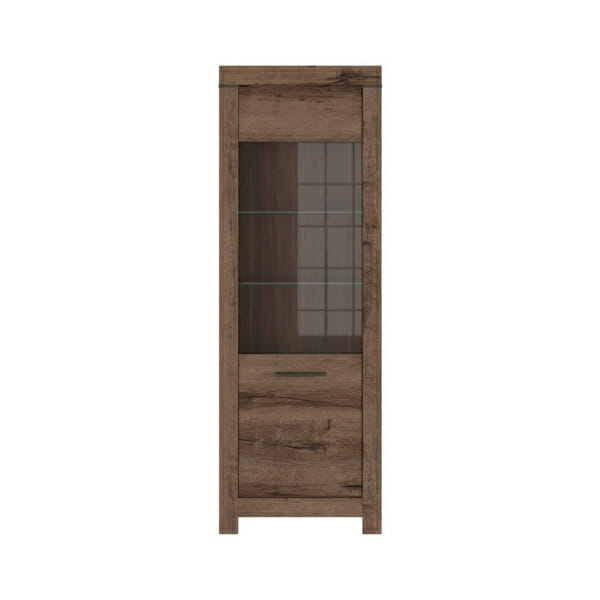 Шкаф със стъклена витрина и осветление Балин - цвят манастирски дъб - отпред
