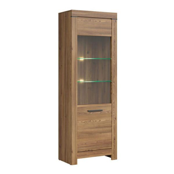 Шкаф със стъклена витрина и осветление Балин - цвят златна лиственица