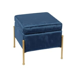 Синя кадифена табуретка ракла със златисти крачета Маргит