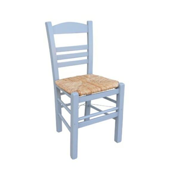 Сив дървен стол със сламена седалка Лимнос
