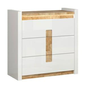 Скрин с 3 чекмеджета в бял гланц и вградено осветление Аламеда