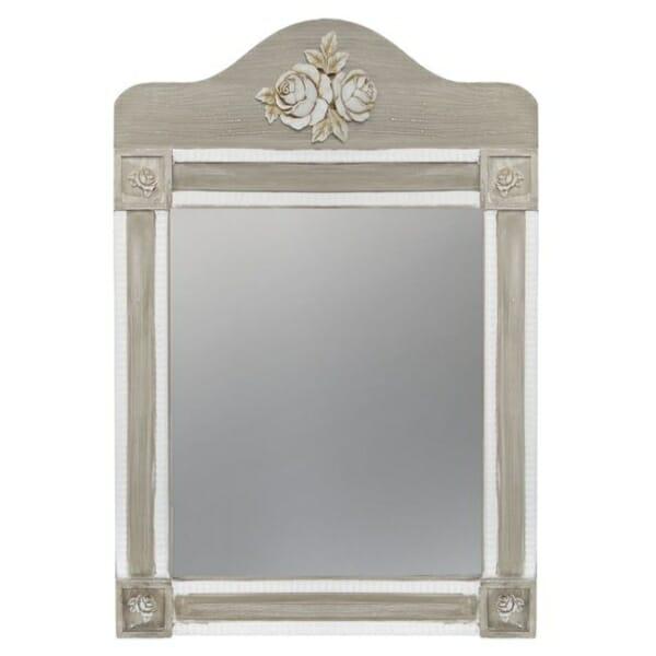 Стенно огледало с красива декорация серия Мелани в бяло