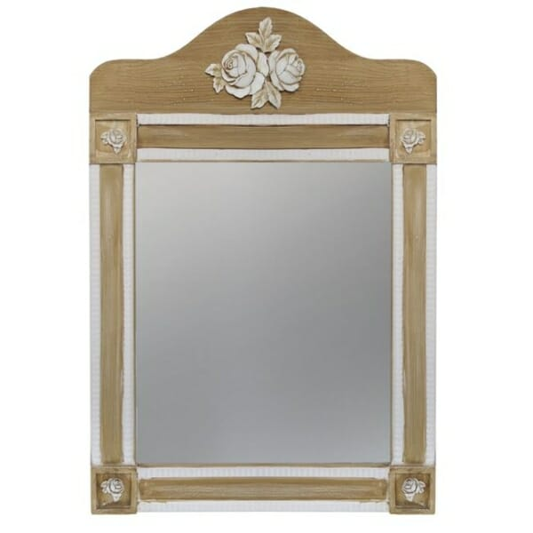 Стенно огледало с красива декорация серия Мелани в екрю