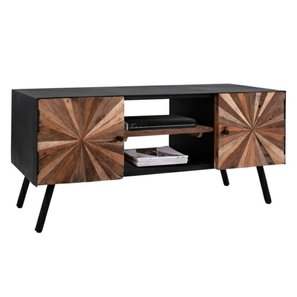 Стилен ТВ шкаф с рафт и две вратички серия Нотико