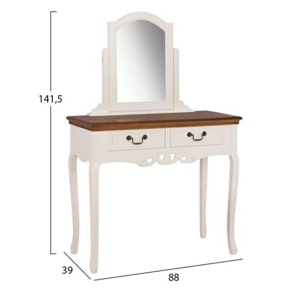 Стилен комплект от тоалетка с огледало и табуретка серия Паскал размери