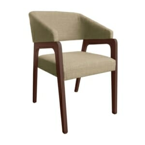 Стилно кресло с дървена рамка и текстилна дамаска - бежов цвят