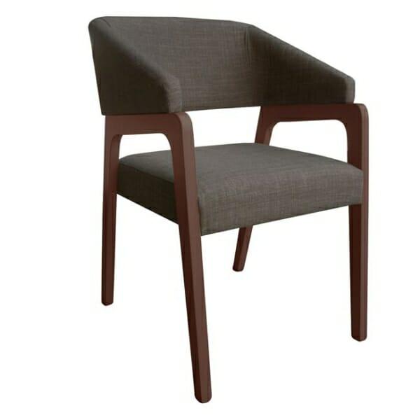 Стилно кресло с дървена рамка и текстилна дамаска - цвят капучино