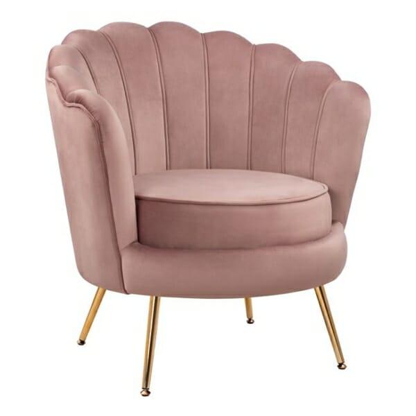 Стилно кресло с форма на раковина в розово